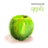 Background with watercolor apple Stock Photo