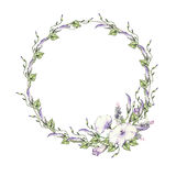 Background with watercolor drawing wild flowers, round floral frame, wreath with painted field plants, herbal border,botanical ill. Ustration in vintage style Stock Photos