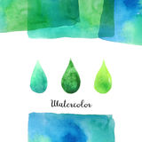 Background with watercolor elements. Background with hand drawn watercolor elements. Handmade watercolor rectangle with multiply effect isolated on white Stock Photo