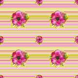 Background with watercolor flowers Royalty Free Stock Image