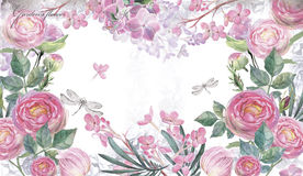 Background with Watercolor hand-drawn roses Royalty Free Stock Images
