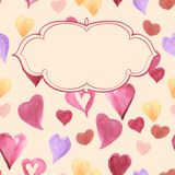 Background of watercolor  hearts. Set of grunge watercolor  hearts.  Retro background. Vintage. Valentine background. Hand drawn Royalty Free Stock Photography