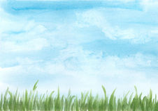 Background watercolor illustration, blue sky with green meadow Royalty Free Stock Photography
