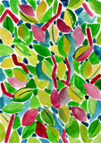 Background with watercolor leaves Stock Photography