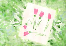 Background with watercolor leaves and tulips flowers. Back ground with watercolor leaves and tulips flowers royalty free illustration