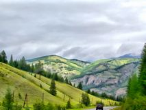 Background watercolor painting mountains landscape Stock Photo