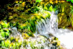 Background watercolor painting mountains landscape. Background watercolor painting of a green banks of the mountain stream and Rocky waterfall in the river royalty free stock photo