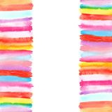 Background with watercolor stripes borders Royalty Free Stock Images