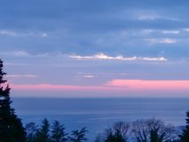 Watercolor sunset in the sea in pink and blue tones, framed by silhouettes of trees stock image