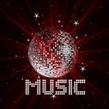 Background with wave disco ball. Abstract rays background with star, wave and music disco ball Vector Illustration