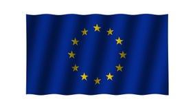 Background. Waving European Union flag. Animation. Footage. stock video