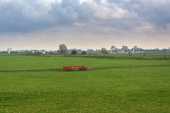 In the background the Weir Driel in the river Nederrijn. In the Netherlands stock photo