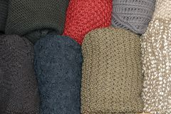 Open drawer with wool sweaters Royalty Free Stock Images