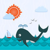 Background with whale and boat Royalty Free Stock Images