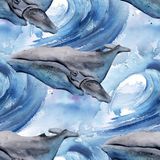 Background with whale. seamless pattern royalty free illustration