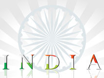 Background with wheel, india in flag color Stock Photography