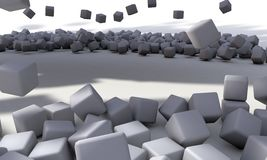 Background of white abstract cubes, 3d render. Working Royalty Free Stock Image