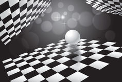 Background  white ball and chessboards in space.vector illustration Royalty Free Stock Photo