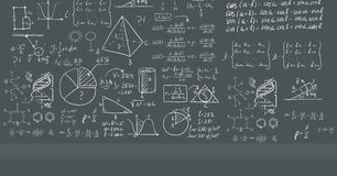Background of white blackboard with mathematical equations. Background of dark grey blackboard with mathematical equations vector flat design illustration Stock Photography