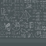 Background of white blackboard with mathematical equations. Background of dark grey blackboard with mathematical equations vector flat design illustration Royalty Free Stock Image