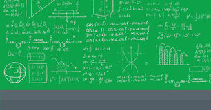 Background of white blackboard with mathematical equations. Stock Images