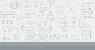 Background of white blackboard with mathematical equations. Royalty Free Stock Photo
