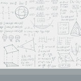 Background of white blackboard with mathematical equations. Stock Image