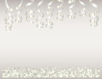 Background with white confetti and serpentine Royalty Free Stock Image