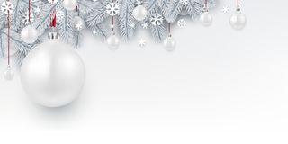 Background with white 3d Christmas ball. stock illustration