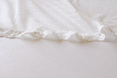 Background of white delicate lace fabric Stock Photography