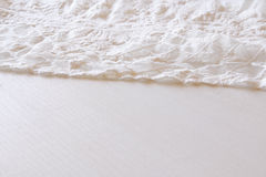 Background of white delicate lace fabric Stock Photos