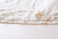Background of white delicate lace fabric Stock Photo