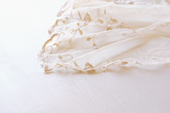 Background of white delicate lace fabric Royalty Free Stock Images