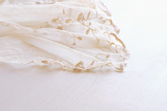 Background of white delicate lace fabric Royalty Free Stock Photos
