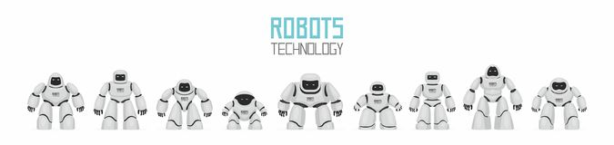 Background of White Different Robots. Isolated on white background Royalty Free Stock Photography