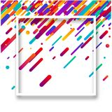 Background with white frame and colorful geometric pattern. Background with white frame and abstract colorful geometric pattern. Vector illustration Stock Photo