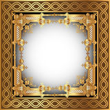 Background with white frame with gold(en) pattern Royalty Free Stock Image