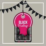 Background with white frame and gray background with black festoons with pendant tag of black friday offer with black. Balloons and magenta backdrop vector Stock Photography