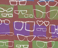 Background with white glasses. Funny background with different glasses Royalty Free Stock Photo