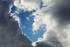 Background. White, gray and black clouds in the sky created an empty place Royalty Free Stock Photography