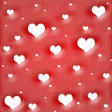 Background by white hearts on red Stock Photo