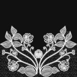 Background with white lace flowers. For design of greeting cards and wedding invitations. Royalty Free Stock Images