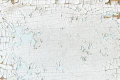 Background of white painted board, cracked surface Royalty Free Stock Photography