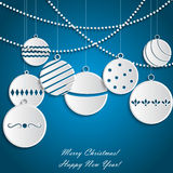 Background with white paper Christmas balls Royalty Free Stock Photo