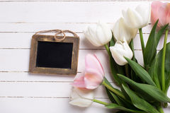 Background  with white and pink flowers and empty blackboard Royalty Free Stock Photo