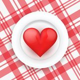 Background White Plate With Realistic Heart. Stock Image