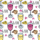 Background with white and red glasses of wine Stock Image
