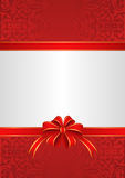 Background. White red background with ribbons and bow Royalty Free Stock Photos
