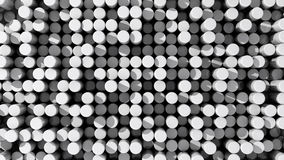 Background of white reflective extruded cylinders or rods. With shadows Royalty Free Stock Photography