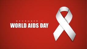 Background with white ribbon for World AIDS Day. Red background with white ribbon to AIDS Day. Vector illustration Royalty Free Stock Images